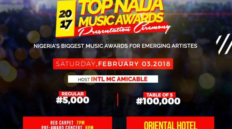 Update: 2017 Top Naija Music Awards Presentation Holds On Saturday February 3rd, 2018